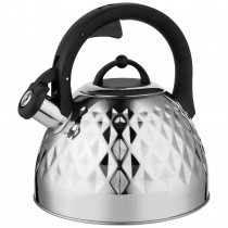 Florina Fenny Mirror Tetera con Silbato 2,5 L, Diseño Moderno, Hervidor de Agua, Inducción, Vitrocerámica, Todo Tipo de Cocinas, Acero Inoxidable Brillo ?>
