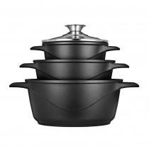SMILE MGK18 - Batería de Cocina Inducción 6 piezas Aluminio Fundido, 3 ollas, Tapas de Vidrio Templado, Revestimiento Antiadherente, Apta Para Todo tTpo de Cocinas, Libre PFOA ?>