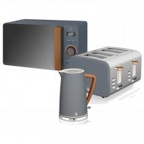 Swan Nordic Set Desayuno Hervidor de agua 1,7L 3000W, Tostadora Pan ranura ancha 4 rebanadas, Microondas 20L digital, diseño moderno, efecto madera, gris ?>