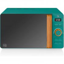 SWAN Nordic Microondas digital 20L, 6 niveles funcionamiento, 800W potencia, temporizador 30 min, fácil limpieza, modo desongelar, diseño moderno, tirador efecto madera, verde mate ?>