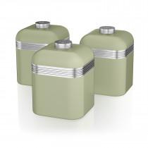 Swan SWKA1020GN Set 3 Botes metálicos de almacenamiento 1 litro, especias, té ,café, vintage diseño retro Verde ?>