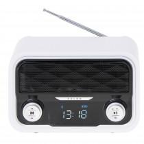 Adler AD1185 Radio Bluetooth, Sintonizador FM, Memoria 50 Emisoras, Reproducción MP3, Puerto USB y Tarjeta SD, Inalámbrica, Estilo Moderno, Portátil, Pantalla LCD, Blanco