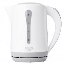 Adler AD1244 Hervidor de Agua Eléctrico 2,5 Litros, Recipiente sin BPA, Resistencia Oculta, 2000 W con Apagado Automático al Alcanzar la Ebullición, Inalámbrico 360º sin Cable, blanco