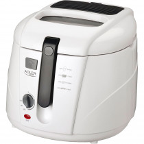 Adler AD 4906 Freidora Eléctrica Compacta 2,5 litros, Cubeta Antiadherente, Regulador Temperatura, Termostato, Tapa con Filtro, 1800W, Blanca