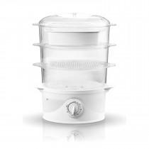 Adler AD633 Vaporera Eléctrica Cocina al Vapor, Libre de BPA, Temporizador 60 Min., 3 Recipientes Apilables (Capacidad 9L), Cuenco para Preparar arro, 800W
