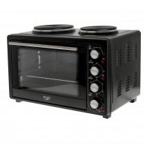 Adler AD 6020 Horno 36L + Cocina Eléctrica Doble de Sobremesa, Interior Acero Inoxidable, Asador de Pollo, 5 Modos de Calor, Temporizador, Ajuste de Temperatura, Negro, 2500W
