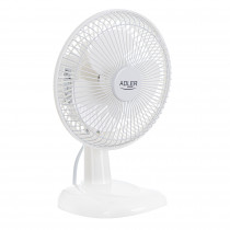 Adler AD7301 Ventilador de Escritorio, Inclinable, 15 cm, 2 velocidades, blanco, 30W