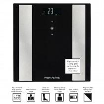 Proficare PW 3007 - Báscula de análisis corporal de 8 funciones, de cristal y acero inoxidable, color negra