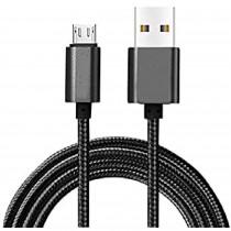 Blaupunkt BLP0203.133 Cable Cargador Micro USB a Macho USB, Carga Rápida, Nylon Trenzado, Cable Alimentación Android, Negro
