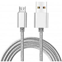 Blaupunkt BLP0203.666 Cable Cargador Micro USB a Macho USB, Carga Rápida, Nylon Trenzado, Cable Alimentación Android, Plata