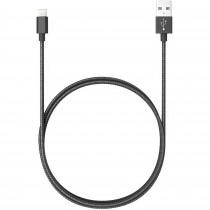 Blaupunkt BLP0213.133 Cable Cargador Lightning a Macho USB, Carga Rápida, Nylon Trenzado, 1,2m, Cable Alimentación IOS, Negro
