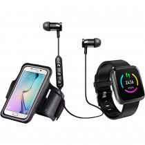Blaupunkt BLP1560 Pack Smartwatch, Brazalete para Móvil, Auriculares Bluetooth, Monitor de Actividad, Sueño, Pulsómetro, Podómetro, Contador Calorías, Negro