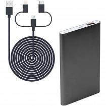 Blaupunkt BLP7100.153 Power Bank 4000 mAh, Batería Externa, Cargador con cable 3 en 1, para IOs, Android, Móviles, Tablets, Gris Oscuro