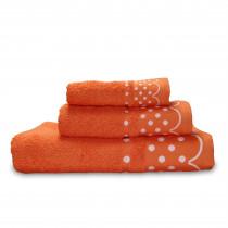 briebe Home Juego de Toallas Baño 100% algodón Rizo 450gr, Set 3 Piezas, Polka Dots, 3 tamaños Ducha Sábana, Manos, Tocador, Cenefa Lunares Bordada, Hecho en Portugal, naranja fuerte
