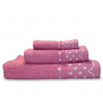 briebe Home Juego de Toallas Baño 100% algodón Rizo 450gr, Set 3 Piezas, Polka Dots, 3 tamaños Ducha Sábana, Manos, Tocador, Cenefa Lunares Bordada, Hecho en Portugal, rosa
