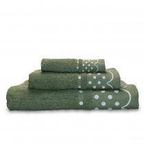 briebe Home Juego de Toallas Baño 100% algodón Rizo 450gr, Set 3 Piezas, Polka Dots, 3 tamaños Ducha Sábana, Manos, Tocador, Cenefa Lunares Bordada, Hecho en Portugal, verde fuerte