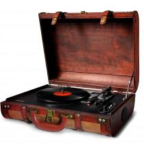 Camry CR1149 Tocadiscos de vinilo vintage, 3 velocidades 33/45/78 RP, altavoces incorporados, diseño maleta, entrada y salida audio