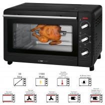 Clatronic MBG 3728 - Horno de sobremesa 30L con asador de pollos giratorio, Grill, aire caliente, piedra pizza, 1500W