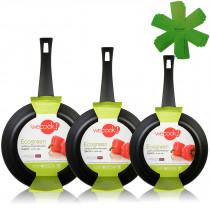 Wecook Ecogreen Set Juego 3 Sartenes 18-20-24 cm aluminio prensado, inducción, antiadherente ecológico sin PFOA, limpieza lavavajillas apta para todas las cocinas, vitrocerámica, gas