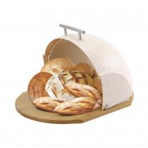 MR-1678-BR Panera de Mesa para Guardar Pan, Tapa Deslizante, Contenedor para Almacenamiento Pan y Bollería, Diseño Moderno, Beige