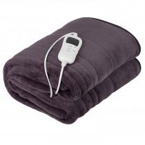 Camry CR7418 Manta Eléctrica XL para cama matrimonio 160x180cm, 7 Niveles Temperatura, Temporizador, Lavable, Tejido Forro Polar Gris, 120W