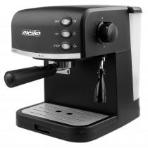 Mesko MS 4409 Cafetera Espresso Manual 15 Bares, Depósito 1,5 L, para Preparar Café Latte, Espresso y Capuccino, Vaporizador para Espumar Leche, Negro, 850W