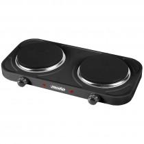 Mesko MS-6509 Hornillo Eléctrico Doble, Regulador de Temperatura, Compacto, 154 mm, 2000W, Negro