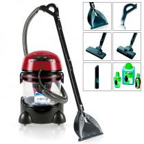 MPM MOD-22 Lava-aspiradora con Limpiador de tapiceria para Coche, alfombras, colchones, aspiradora en humedo seco, depósito de 10 litros residuos, depósito detergente 4,5 litros