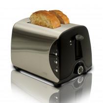 MPM BH-8863 Tostadora pan acero inoxidable, 2 Ranuras, 3 Funciones, tostar, Calentar y descongelar, 850 W, regulador de Nivel de Tostado, calienta panecillos o bolleria