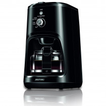 MPM MKW-04 Cafetera de goteo con molinillo de café integrado, máquina de filtro para 4 tazas, 0,6 litros, función mantenedora calor, 900 W, negro