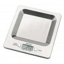MPM MWK-04 Báscula de cocina digital de acero inoxidable, alta precisión pasos 1g pesa alimentos hasta 5Kg, display LCD, función tara, multifunción