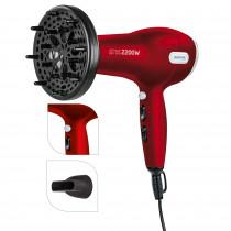 MPM MSW-08 secador de pelo profesional + Difusor, 2 ajustes de Velocidad, 3 Temperaturas, Botón Aire Frío, 2200W Rojo