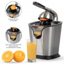 Proficook ZP 1154 - Exprimidor eléctrico zumo naranjas y limón con palanca, motor profesional, antigoteo, 2 conos, acabado en acero inoxidable 160W