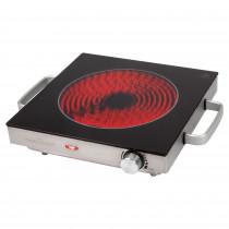 ProfiCook EKP 1210 Placa de Cocción por Infrarrojos Individual, Portátil, Vitrocerámica, Inducción, Apta para Todo Tipo de Ollas, Carcasa de Acero Inoxidable 2000W
