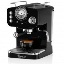 Swan SK22110BN Retro Cafetera Express para Espresso y Cappucino, 15 bares presión, Vaporizador, capacidad 1,20 litros, 1 o 2 tazas café molido , diseño vintage Negra, 1100W