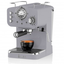Swan SK22110GRN Retro Cafetera Express para Espresso y Cappucino, 15 bares presión, Vaporizador, capacidad 1,20 litros, 1 o 2 tazas café molido , diseño vintage Gris, 1100W
