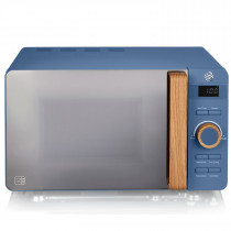 SWAN Nordic Microondas digital 20L, 6 niveles funcionamiento, 800W potencia, temporizador 30 min, fácil limpieza, modo descongelar, diseño moderno, tirador efecto madera, azul mat
