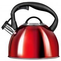 Smile MCN13/C1 Tetera con Silbato, Hervidor de Agua Retro, Inducción, Vitrocerámica, Todo Tipo de Cocinas, 3 L, Acero Inoxidable, Mango Tacto Frío, Diseño Vintage, Roja