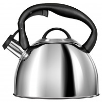 Smile MCN13/P Tetera con Silbato, Hervidor de Agua Retro, Inducción, Vitrocerámica, Todo Tipo de Cocinas, 3 L, Acero Inoxidable, Mango Tacto Frío, Diseño Vintage, Color Inox