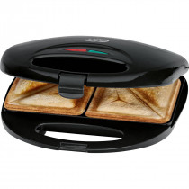 Clatronic ST 3477 - Sandwichera para 2 sandwiches, antiadherente, 750 W, color negro