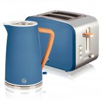 Swan Nordic Set Desayuno Hervidor de agua inalámbrico 1,7L 2200W, Tostadora Pan ranura ancha 2 rebanadas, 3 funciones, diseño moderno, efecto madera, azul