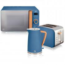 Swan Nordic Set Desayuno Hervidor de agua 1,7L 2200W, Tostadora Pan ranura ancha 2 rebanadas, Microondas 20L digital, diseño moderno, efecto madera, azul