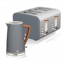Swan Nordic Set Desayuno Hervidor de agua inalámbrico 1,7L 3000W, Tostadora Pan ranura ancha 4 rebanadas, 3 funciones, diseño moderno, efecto madera, gris