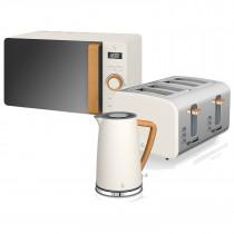 Swan Nordic Set Desayuno Hervidor de agua 1,7L 3000W, Tostadora Pan ranura ancha 4 rebanadas,Microondas 20L digital, diseño moderno, efecto madera, blanco
