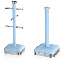 Swan Set Porta Rollos Papel de cocina + Soporte para 6 Tazas café, acero inoxidable alta calidad, vintage diseño retro azul