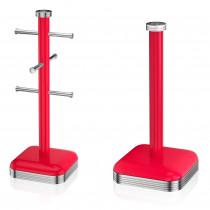 Swan Set Porta Rollos Papel de cocina + Soporte para 6 Tazas café, acero inoxidable alta calidad, vintage diseño retro rojo