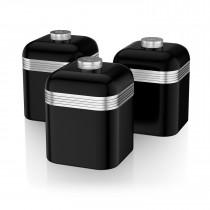 Swan SWKA1020BN Set 3 Botes metálicos de almacenamiento 1 litro, especias, té ,café, vintage diseño retro Negro