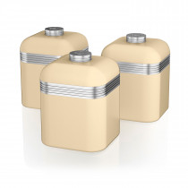 Swan SWKA1020CN Set 3 Botes metálicos de almacenamiento 1 litro, especias, té ,café, vintage diseño retro Crema