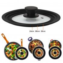 Magefesa - Tapa de sartén, ollas, cacerolas multidiámetro universal adaptable con borde de silicona y cristal con válvula de vapor para diámetro de 24-26-28
