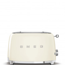 Smeg TSF01CREU Tostadora 2 rebanadas, 6 niveles de tostado, 2x2 50' Style Crema, 950W